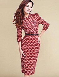 vestido de cuello de la camisa de talla grande de la vendimia, midi poliéster ¾ manga de las mujeres