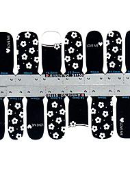 5x14pcs mooie schattige bloem zwart&witte nail art stickers