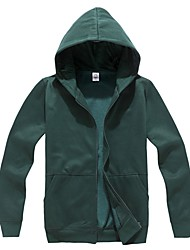 Men's Hooded Solid Zipper Front Outerwear