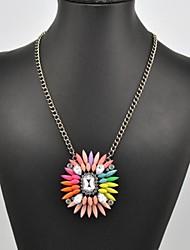 arco iris de flores collar de piedra patrón de las mujeres