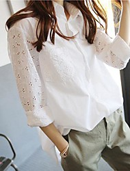 Women's White Hollow Out Long Sleeve Shirt