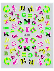 1pcs mignon lettres anglaises multicolore de nail art autocollants