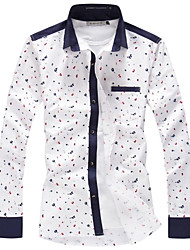 Men New Personalized Korean Style Dots Printing Slim Long-sleeved Shirt