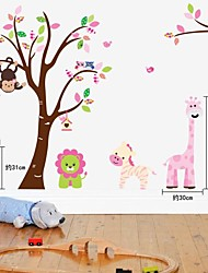 zooyoo®fashion venta caliente de vinilo removible colorido árbol y animales lindos etiqueta de la pared decoración del hogar del arte