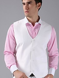 Men's Solid Casual Blazer,Nylon / Lycra / Organic Cotton Sleeveless White
