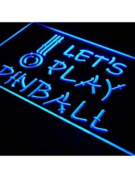 s011 Let's Play Pinball Game Room Bar Neon Light Sign