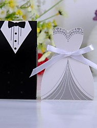 Bride And Groom Favor Box With White Ribbon (Set of 6 Pairs)