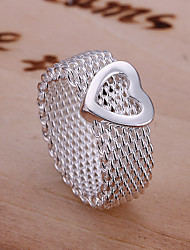 Fashion Heart Mesh Link Solid Color Ring