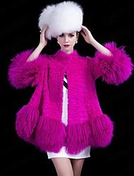 zijindiao® Frauen aus echtem Fell Wolle Spleißen Rabbit Fur Coat