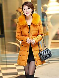 gola de pele Coreia do hoodie da bainha de lã das mulheres casaco longo dm