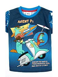 kindermode t-shirt ronde hals met korte mouwen cartoon gedrukt zomer jongens tees willekeurige afdruk