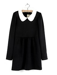 Women's Solid Red/Black/Yellow Dress , Casual/Cute Peter Pan Collar Long Sleeve