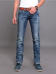 Men's 2014 New Fashion Low-rise Zipper Fly Combined Body Casual Long Straight Jeans
