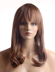 Capless Full Bang Long Brown Curly Straight Quality Heat-resistant Fiber Synthetic Wigs