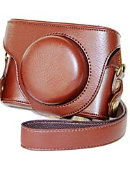Dengpin® Leather Detachable Protective Camera Case Bag Cover Litchi Pattern with Shoulder Strap for Panasonic Lumix LX7