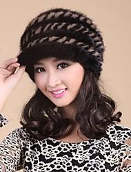 moda vera genuina pelliccia di visone maglia cappello berretto beanie shapka delle donne