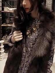 XT Korean Style Fox Fur Waistcoat_64 (Khaki,White,Black,Gray)