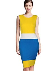 Women's Color Block Black/Yellow Dress , Party/Work Round Neck Sleeveless