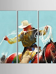 IARTS®Hand Painted Oil Painting People  West Cowboy Riding on Horse with Stretched Frame Set of 3