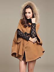 cuello de solapa capa de tweed abrigo de las mujeres cyc