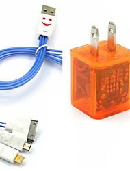 conduit clignotant double usb 2 ports adaptateur chargeur, plus souriant câble USB 3in1 de visage pour Samsung / iphone / ipad / bbsuit htc