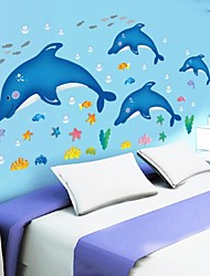 Doudouwo® Wall Stickers Wall Decals, Animals Cute and Lovely Dolphin Fish and Starfish PVC Wall Stickers