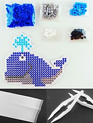 Whale Fountain 5mm Perler Beads Kit Fuse Hama Beads(Suitable Color Beads Set+1 Pegboard+1 Ironing Paper+1 Tweezer)