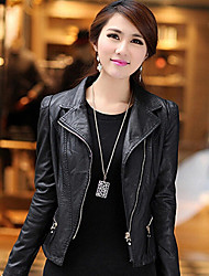 Lady 7 Women's Fashion Bodycon Short Imitation Leather Coat