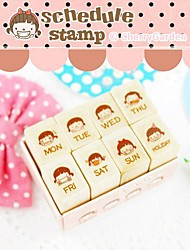 Lovely Girl 7 Days and Holiday Rubber Stamp Set(8 PCS/Set)