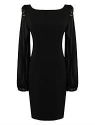 Women's Chiffion A Line Bodycom Long Sleeve Dress