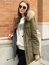 De veri gude® vrouwen wasbeer bontkraag omkeerbaar dressing warme parka jas
