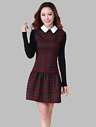 Women's Plus Size Long Sleeve Round Collar Plaid Dress
