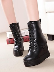 Women's Shoes Round Toe Wedge Heel Ankle Boots with Zipper More Colors available