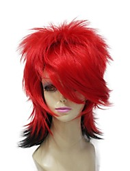 Capless Heat Resistant Short Red Mixed Black Mixed Colour Party Wig