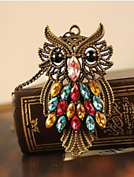 rétro mignon hibou section des femmes de collier de diamants