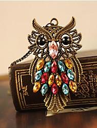 retro bonito da coruja longa seção das mulheres do colar de diamantes