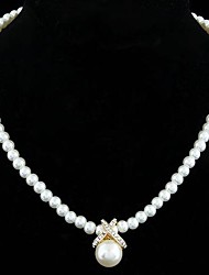 Jewelry Pendant Necklaces / Strands Necklaces Daily Imitation Pearl Women White Wedding Gifts