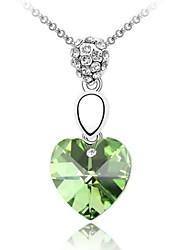 sentir mon coeur collier court plaqué 18K véritable péridot de platine cristallisé strass cristal autrichien