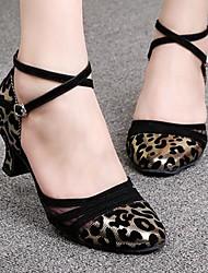 Латинской женские сандалии с низким зерна пятки леопарда с тюль танцевальной обуви (больше цветов)