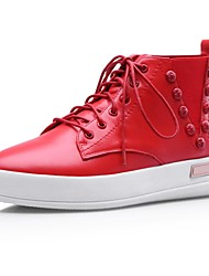 Women's Shoes Komanic Round Toe Low Heel Leather Fashion Sneakers with Lace-up Shoes More Colors avaliable