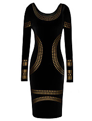 Dolce Women's Black Fitted Gold Printed Dresss