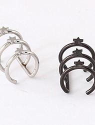 puños punky del oído de acero de titanio pentagrama (plata, negro) (1 pc)