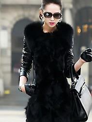 XT Women's Long Sleeve Slim Temperament Elegance Fur Leather Overcoats