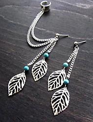 Shixin® Fashion Leaf Tassels Gem Alloy Stud Earring Clip Earring (Silver) (1 Pair)