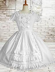 lieve dame korte mouw knie-lengte witte katoenen schoolgroep lolita jurk