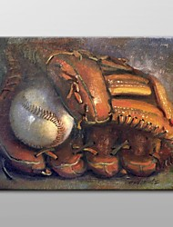 Hand Painted Oil Painting Still LifeBaseball with Mitt  by Hall Groat II with Stretched Frame