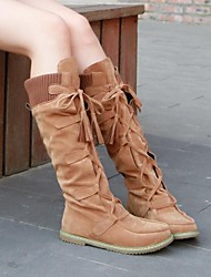 Women's Shoes Round Toe Flat Heel Knee High Boots with Lace-up More Colors available