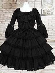 Sweet Lady Long Sleeve Knee-length Black Cotton School Lolita Dress