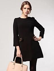 Women's Vintage Drilling Beaded High Waist Long Sleeve Mini Dresses