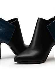 Calçados Femininos - Botas - Bico Fino / Botas da Moda - Salto Agulha - Preto / Vinho - Couro / Couro de Gado - Festas & Noite / Social